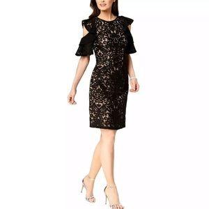 New XSCAPE Cold Shoulder Lace Black Dress 12